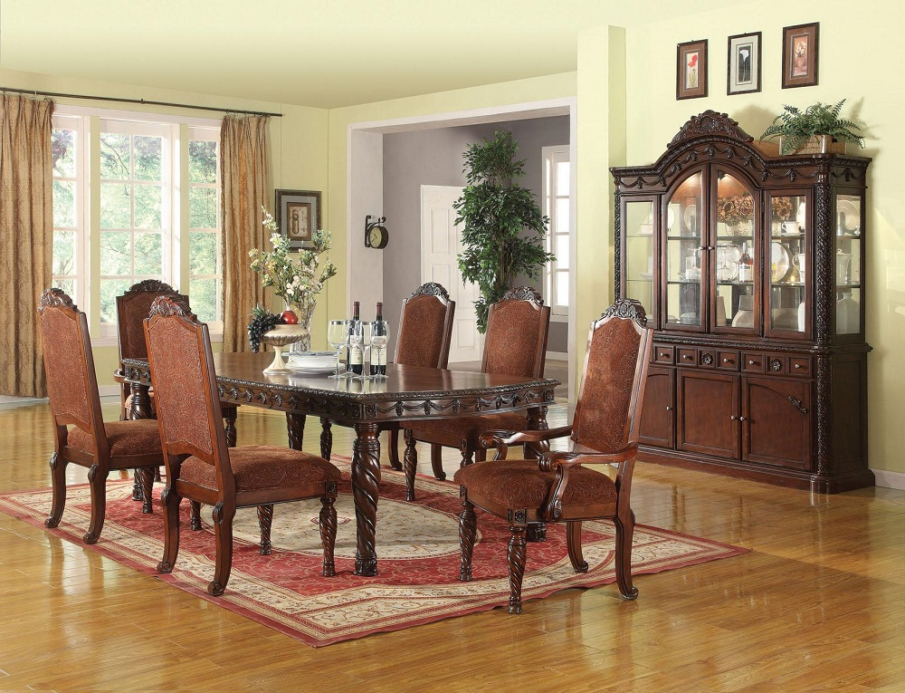 Formal standard traditional dining room table set 7pc for Traditional dining room