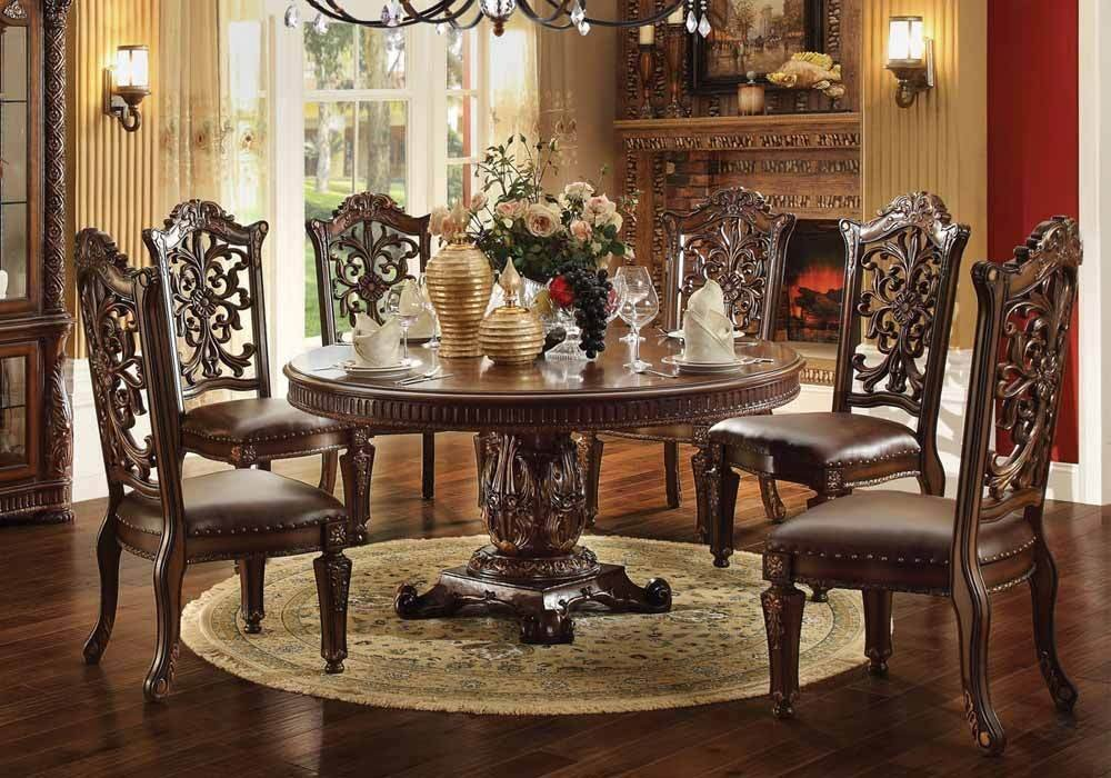 Vendome Formal Dining Round Table Set Cherry 6xside Chairs