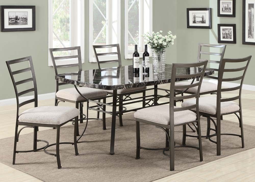 Modern daisy black faux marble top dining room table set for Marble dining room table
