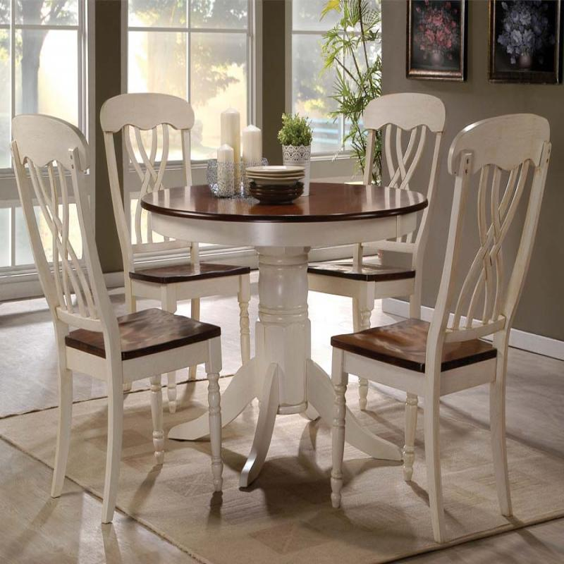 Country Style Dining Table And Chairs: Modern Country Style Round Pedestal Table Chair Buttermilk