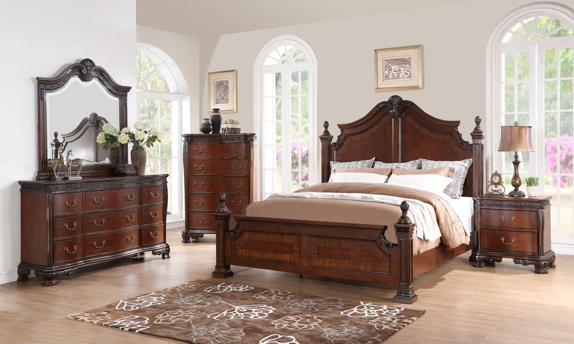 Western King Size Bed 1pc Traditional Look Elegance Wooden Bedroom Furniture