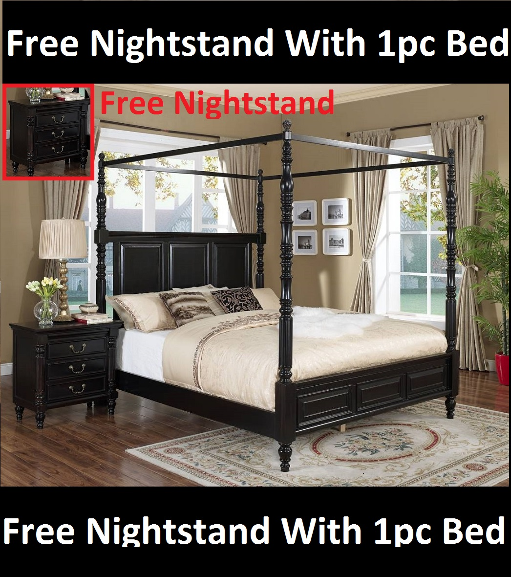Black Transitional Canopy Queen Size Bed Bedroom Furniture