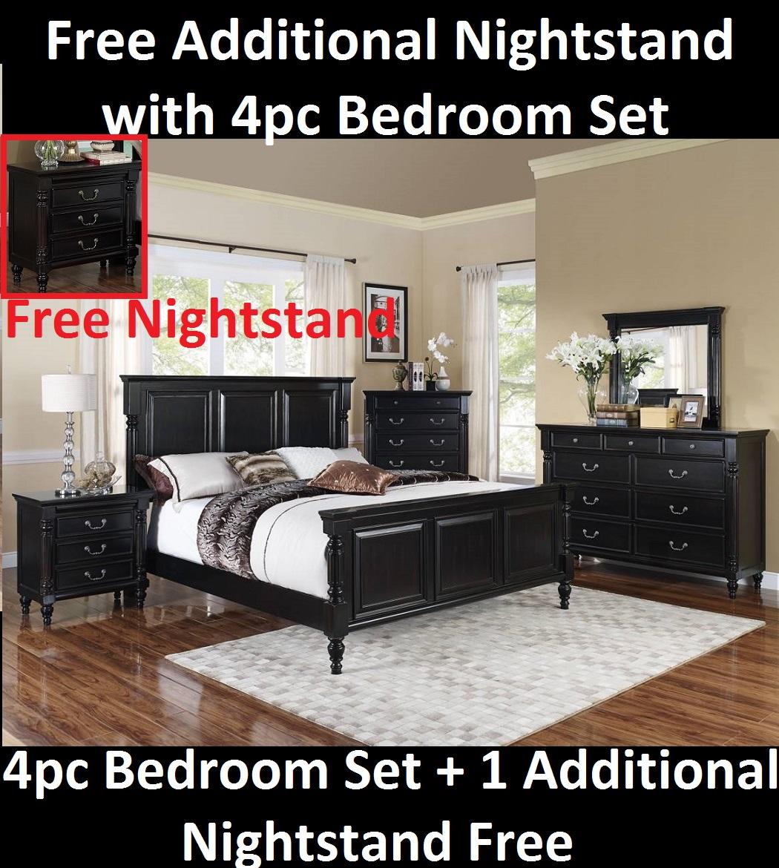 Black Wooden Design Bedroom Furniture w Additional Nightstand 4pc Queen Set