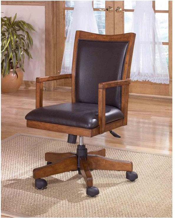 casual brown color faux leather upholstery office chair ashley design