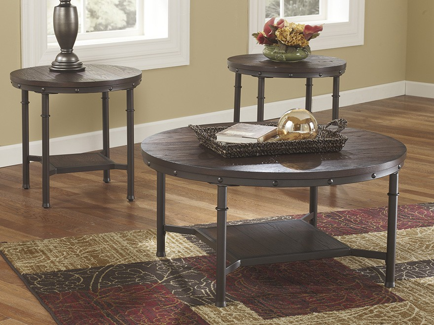 Elegant Look Round Coffee Table Set W 2 End Tables Brown Ashley Design Furniture Ebay