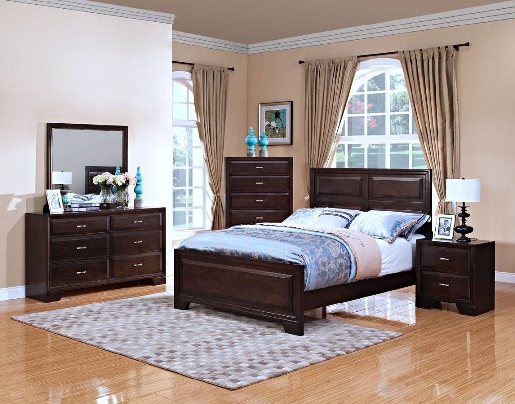 Transitional 1p Western King Size Hardwood Bedroom Furniture Bed Chestnut Fin