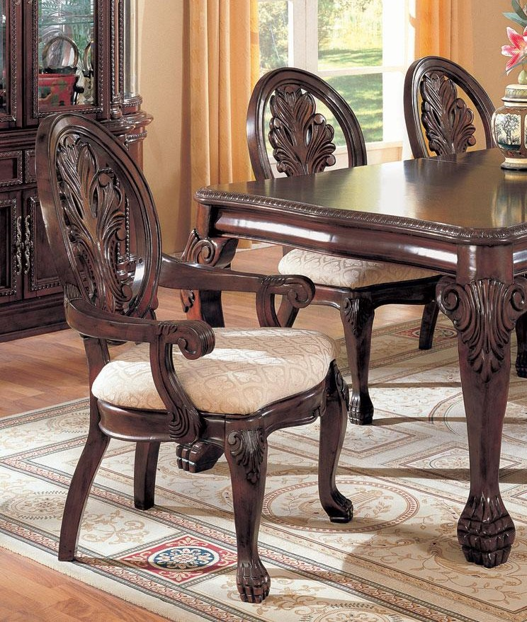 Dining Room Arm Chairs Upholstered: Antique Traditional Style Dining Arm Chairs 2pc Fabric