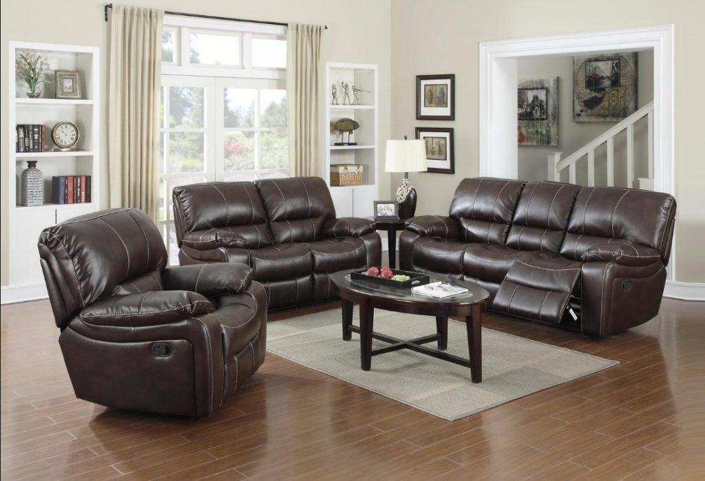 Burgundy Leather Reclining 3pc Sofa Set Living Room Sofa