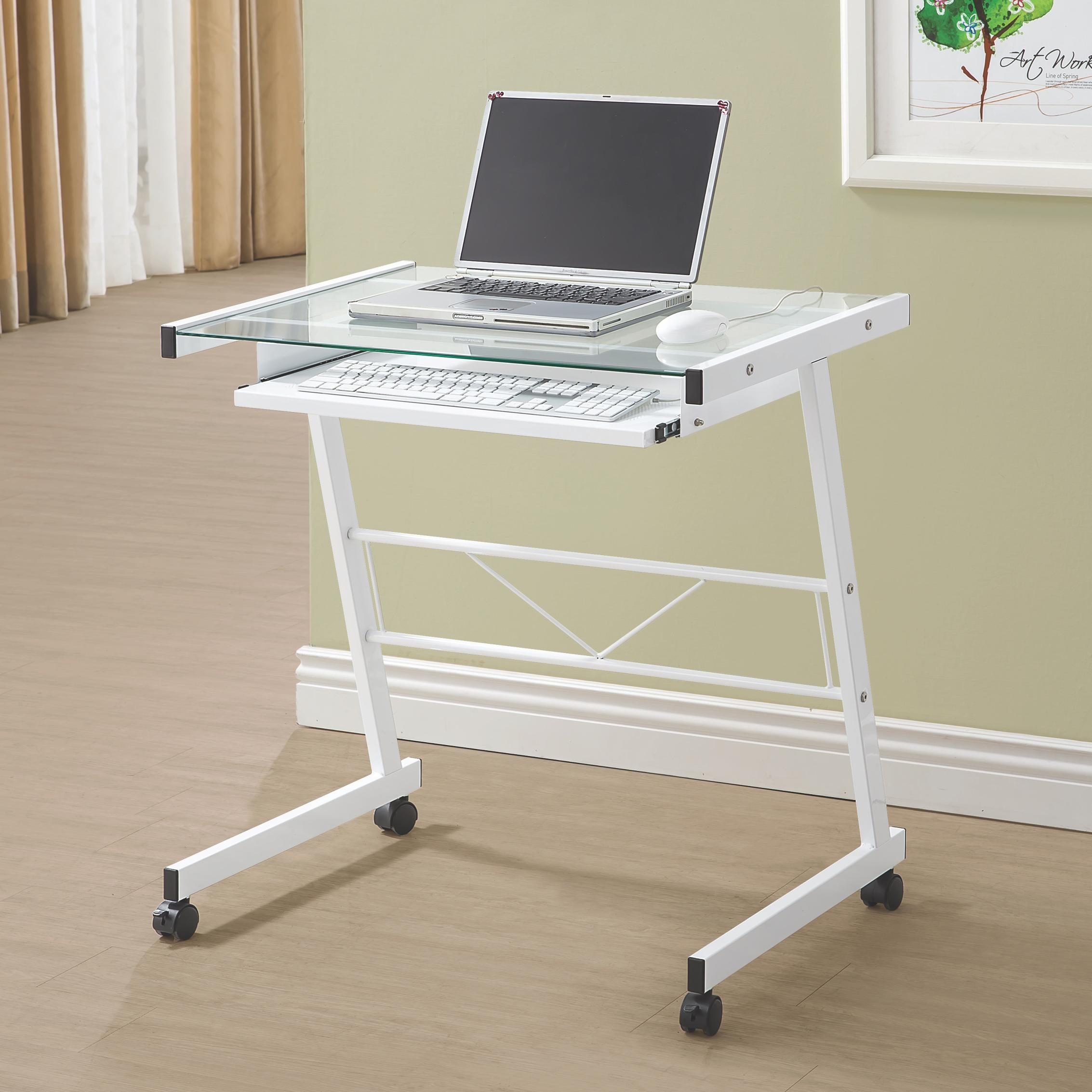 Computer Desk White Finish Keyboard Storage Coaster Home