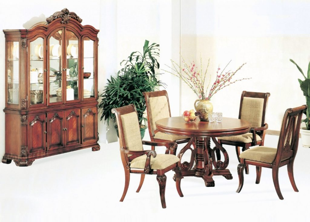 Formal charlene dining room round dining table 5pc set for Cherry dining room chairs