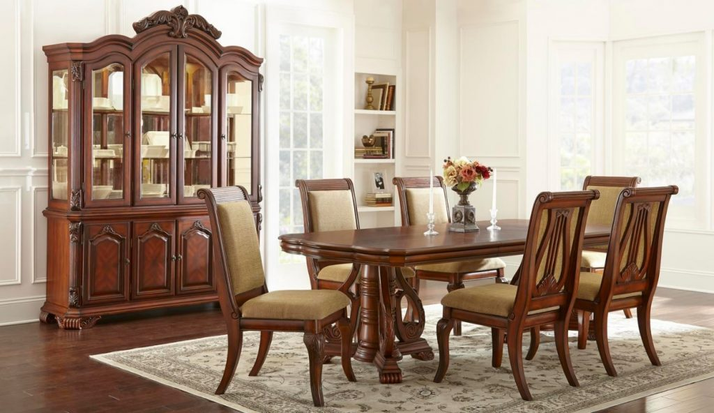 Formal charlene dining room dining table 7pc set cherry for Cherry dining room chairs