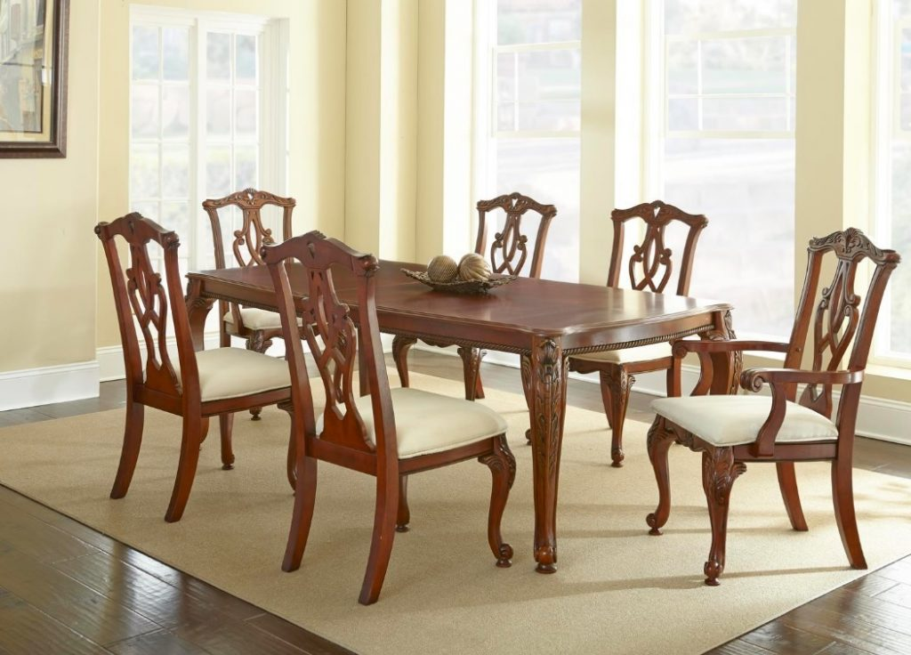 Charity 7pc dining room set in cherry table chairs formal for Cherry dining room chairs