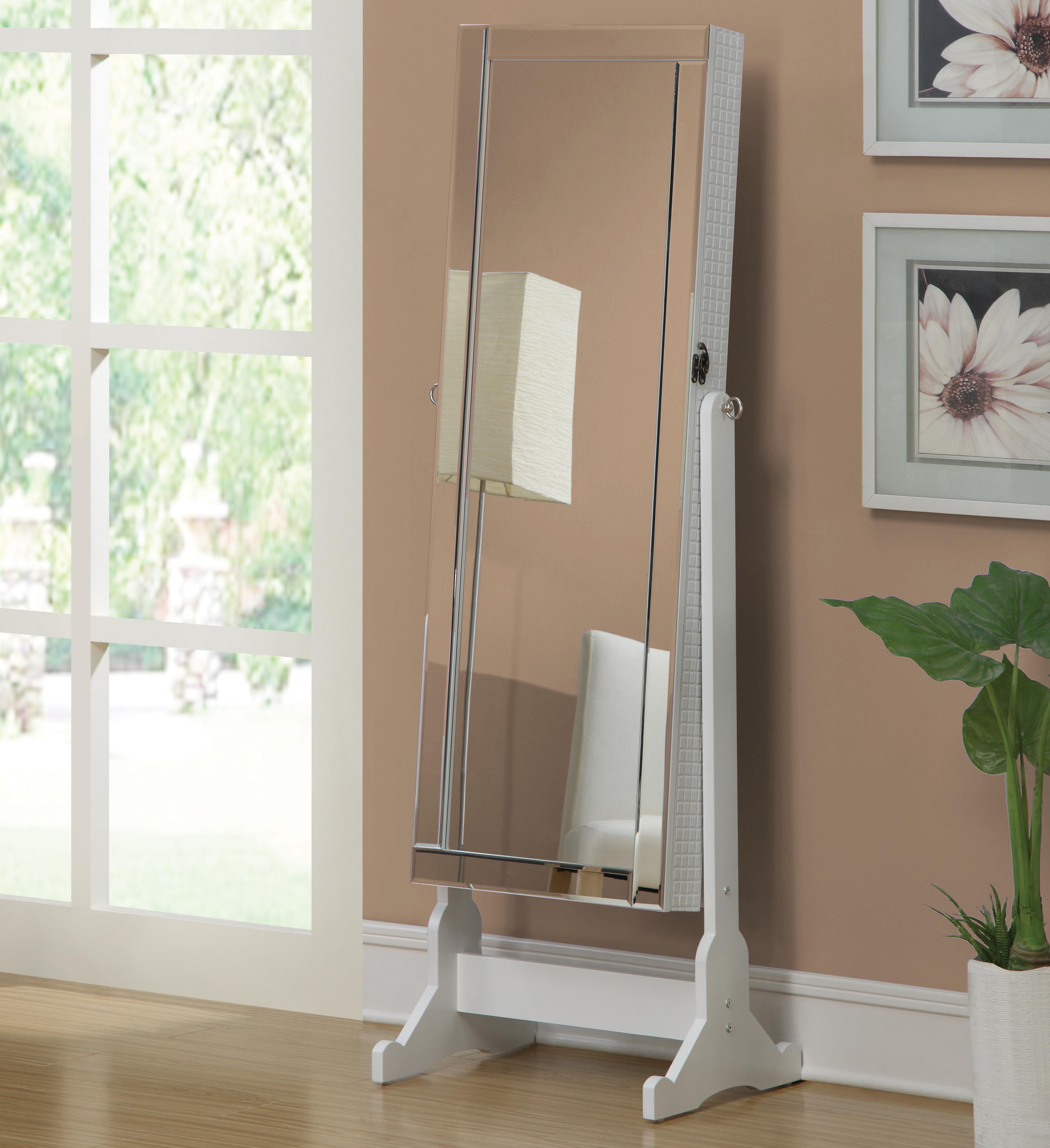 Quilted White Swivel Jewelry Armoire Cheval Floor Dressing ...