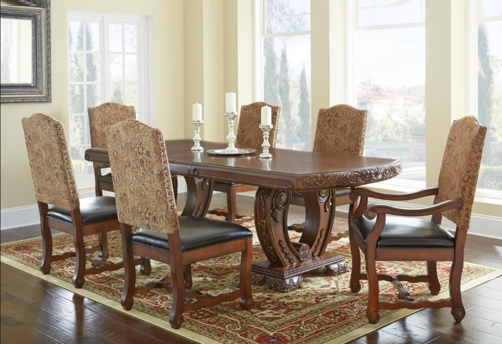 Dining Table Formal Brown Aspen Dining Room 7pc Set Dining Chairs Table Antiq