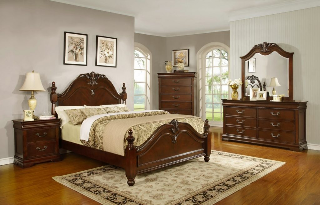 Formal Traditional King Size Antique Style Celina Bedroom Bed Cherry Furniture Ebay