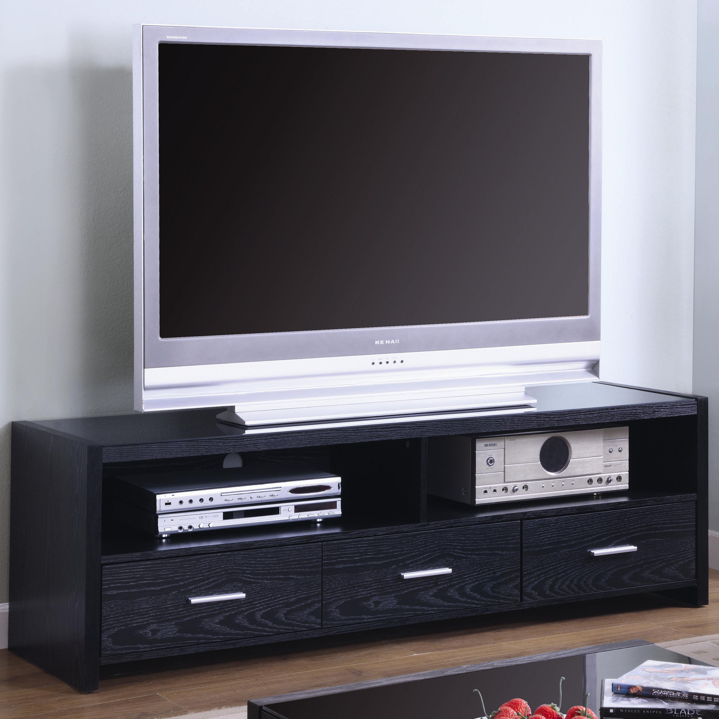 Tv Stands Contemporary Media Console Black Finish Coaster