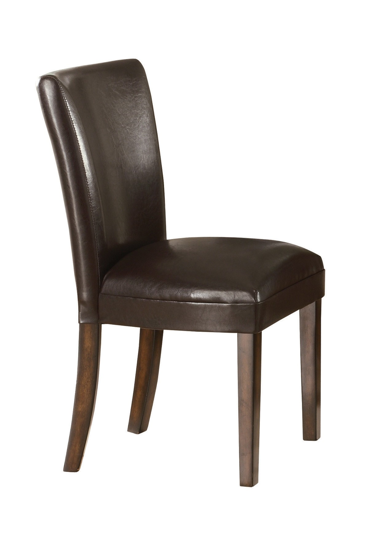 Coaster upholstered durable brown faux leather parsons for Leather parsons dining chair
