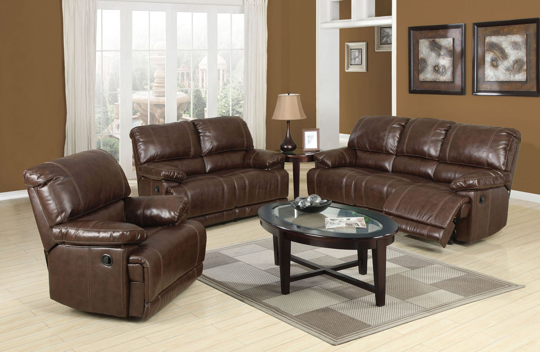 Bonded leather match reclining sofa loveseat chair 3pc set for Matching living room furniture sets
