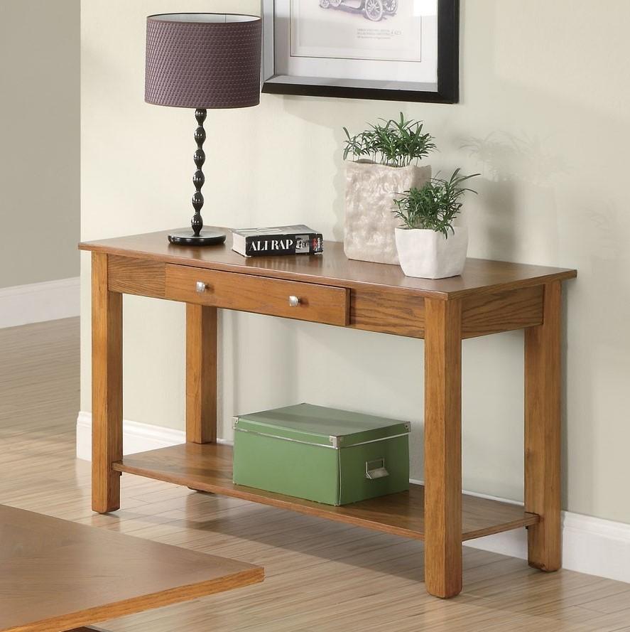 Traditional Style Oak Occasional Sofa Table W 1 Drawer Base Walnut California