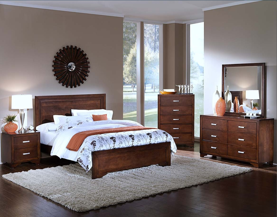 Transitional Style Eastern King Size Bed Bedroom Furniture Tobacco Solids Woo