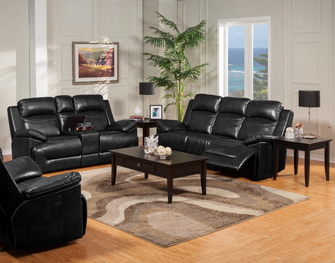 Modern sleek black unique leather dual recliner sofa set for Unique couches living room furniture
