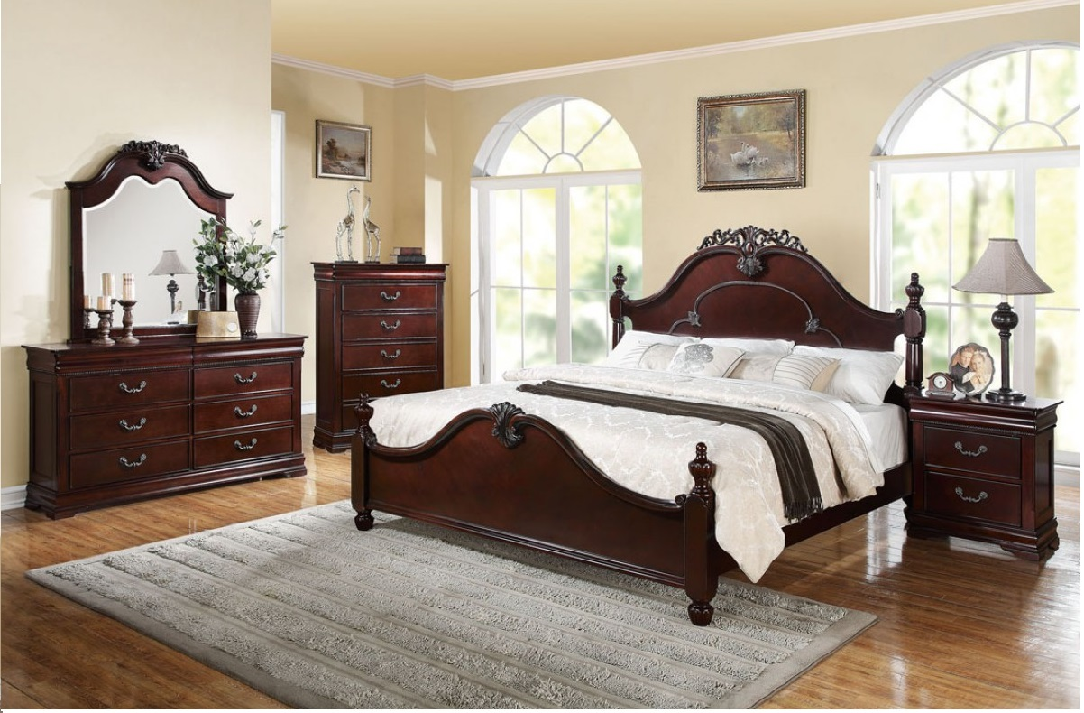 1p queen size bed wooden gwyneth traditional bedroom antique style cherry finish ebay for Traditional wood bedroom furniture
