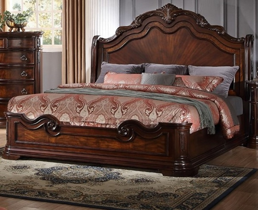 new formal cal king size bed set 1pc traditional walnut