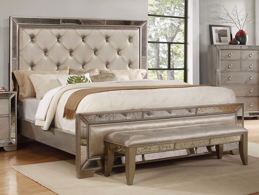 Antique formal contemporary est king size bed mirrored for Mobilia king size bed