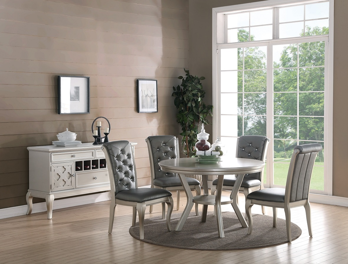 formal traditional dining room 5pc dining set dining table chairs silver finish. Black Bedroom Furniture Sets. Home Design Ideas