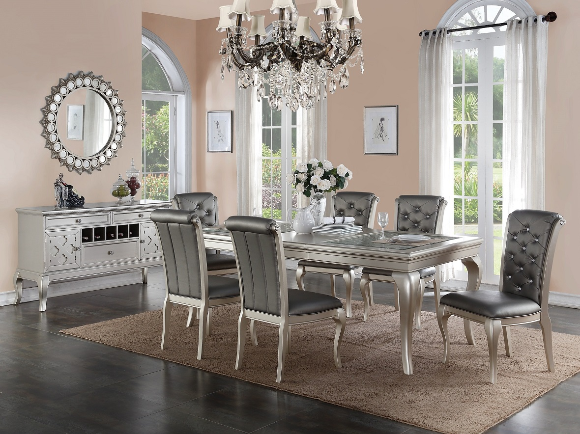 Charming traditional antique silver dining set dining table formal 6 side chair ebay - Vintage dining room ideas ...