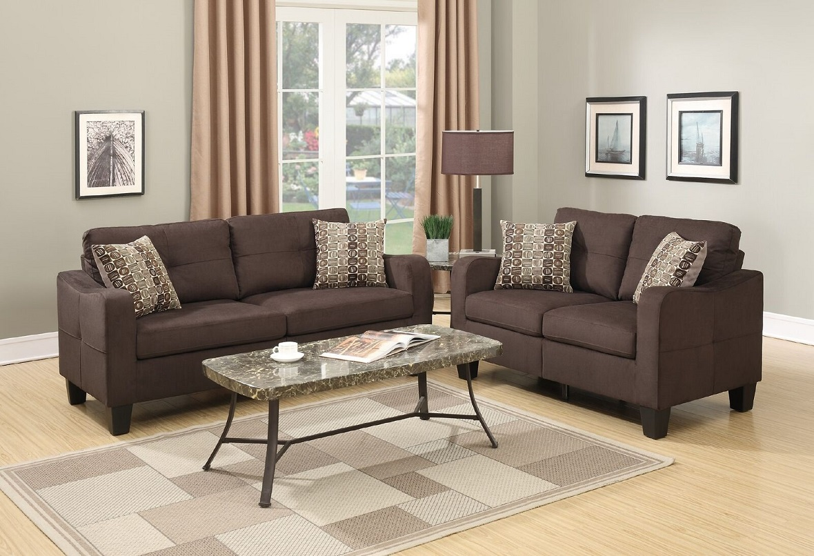 New Sofa And Loveseat w Pillows Chocolate Polyfiber Modern Family Living Room eBay