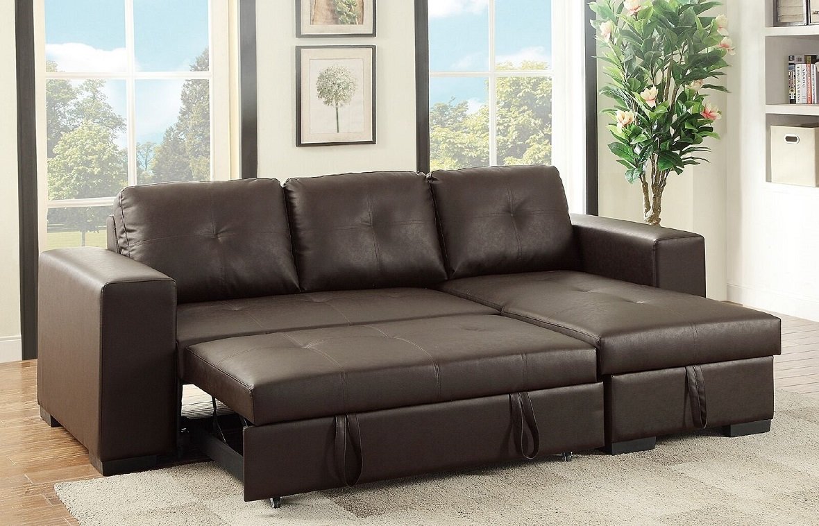 Sectional sofa w pull out bed storage reversible chaise for Sectional sofa with pull out bed and recliner