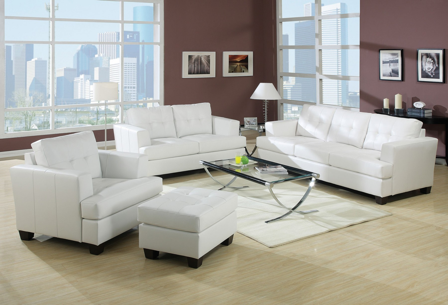 3pc Sofa Set White Bonded Leather
