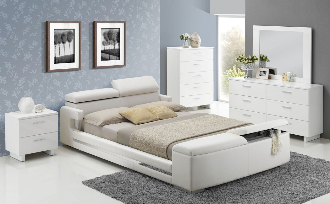 Elegant white upholstered storage bed 5pc queen size layla - Queen size bedroom furniture sets ...