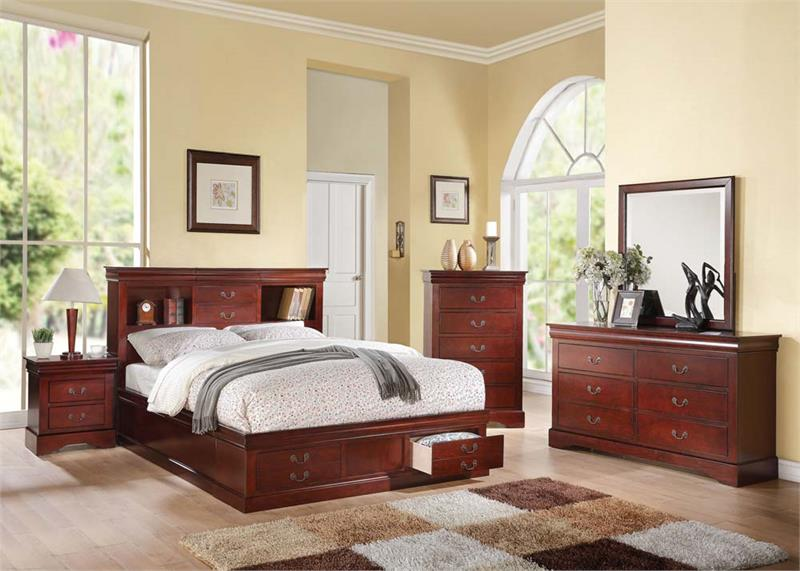 Louis philippe transitional 4pc queen size storage bedroom - Queen size bedroom set with storage ...