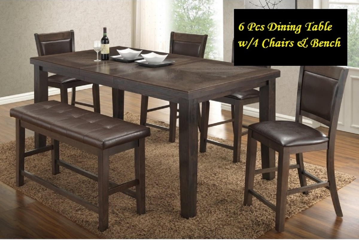 Modern style 6 pieces walnut wood counter height dining for Dining table size for 6