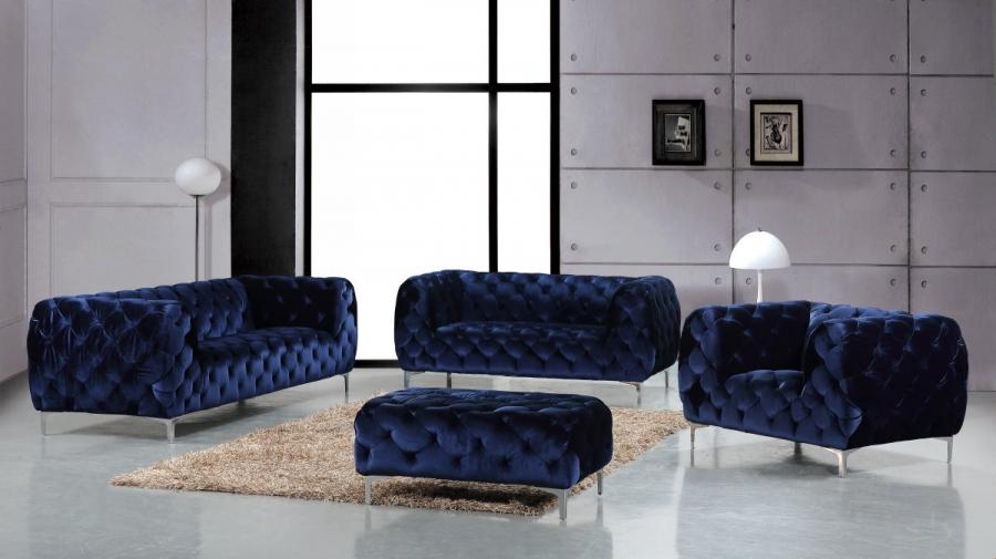 Meridian 646 Velvet Living Room Sofa Set 3pc Tufted Navy