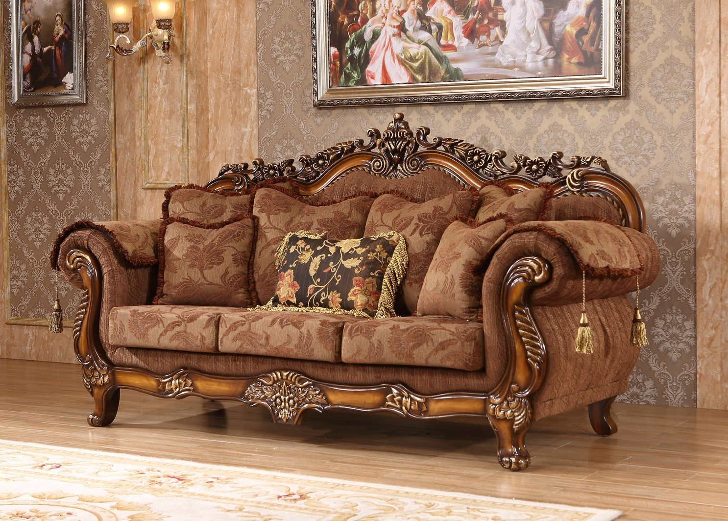 Cherry Traditional Sofa Living Room Furniture Hot Sectionals