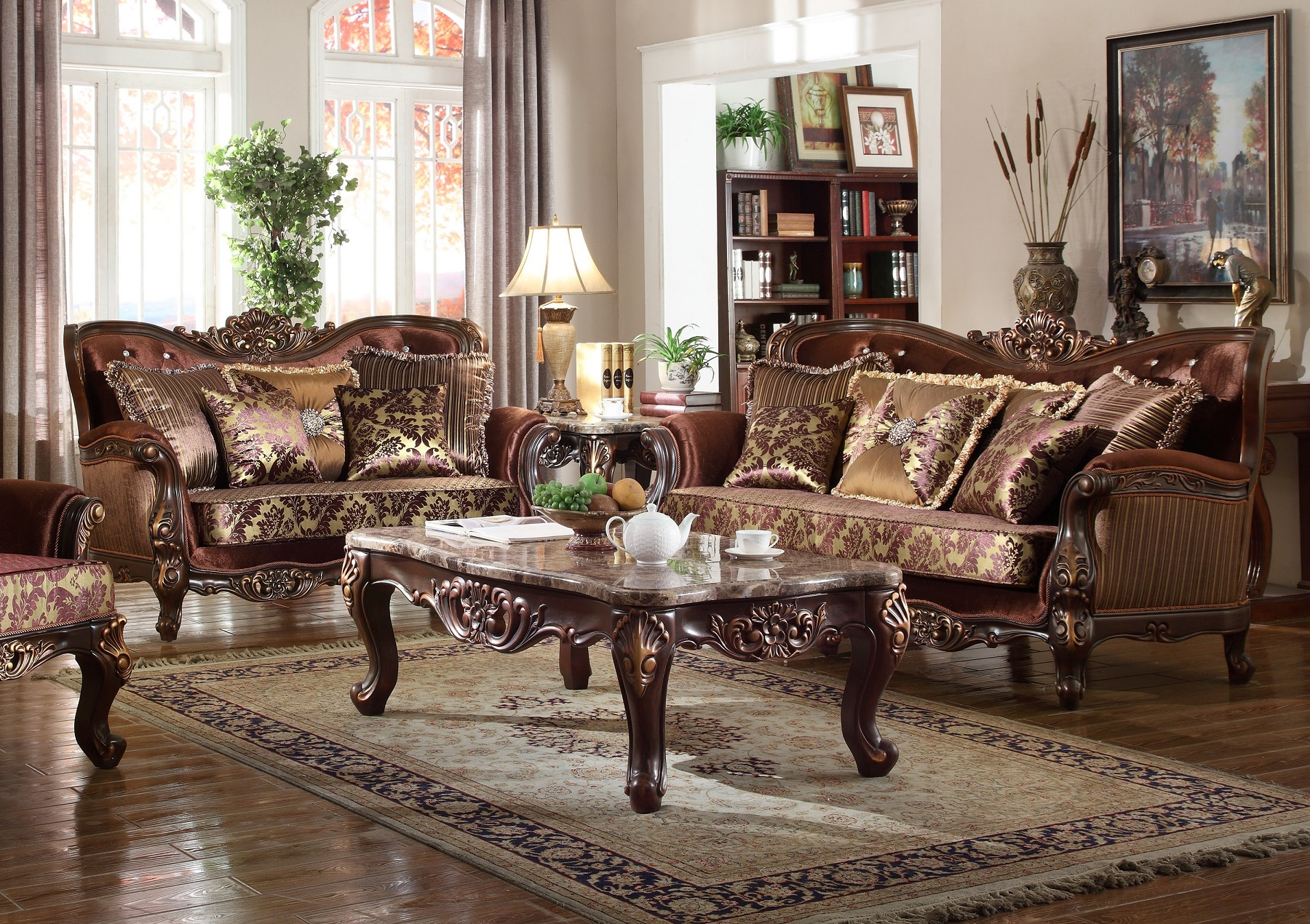2pc Formal Sofa Set Crystal Tufting Rich Cherry Living Room Furniture Sofa  U0026 Love Seat