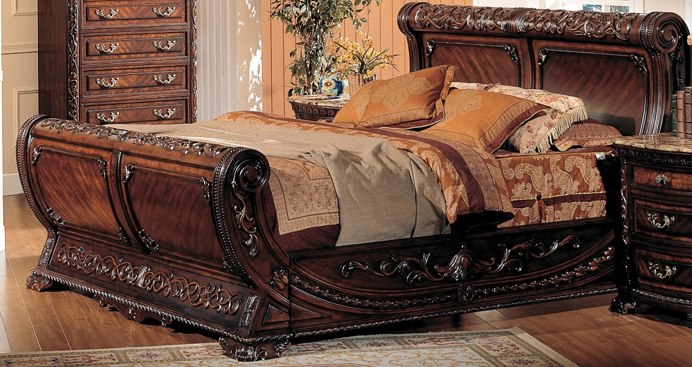 traditional antique walnut formal luxury 1pc bedroom est