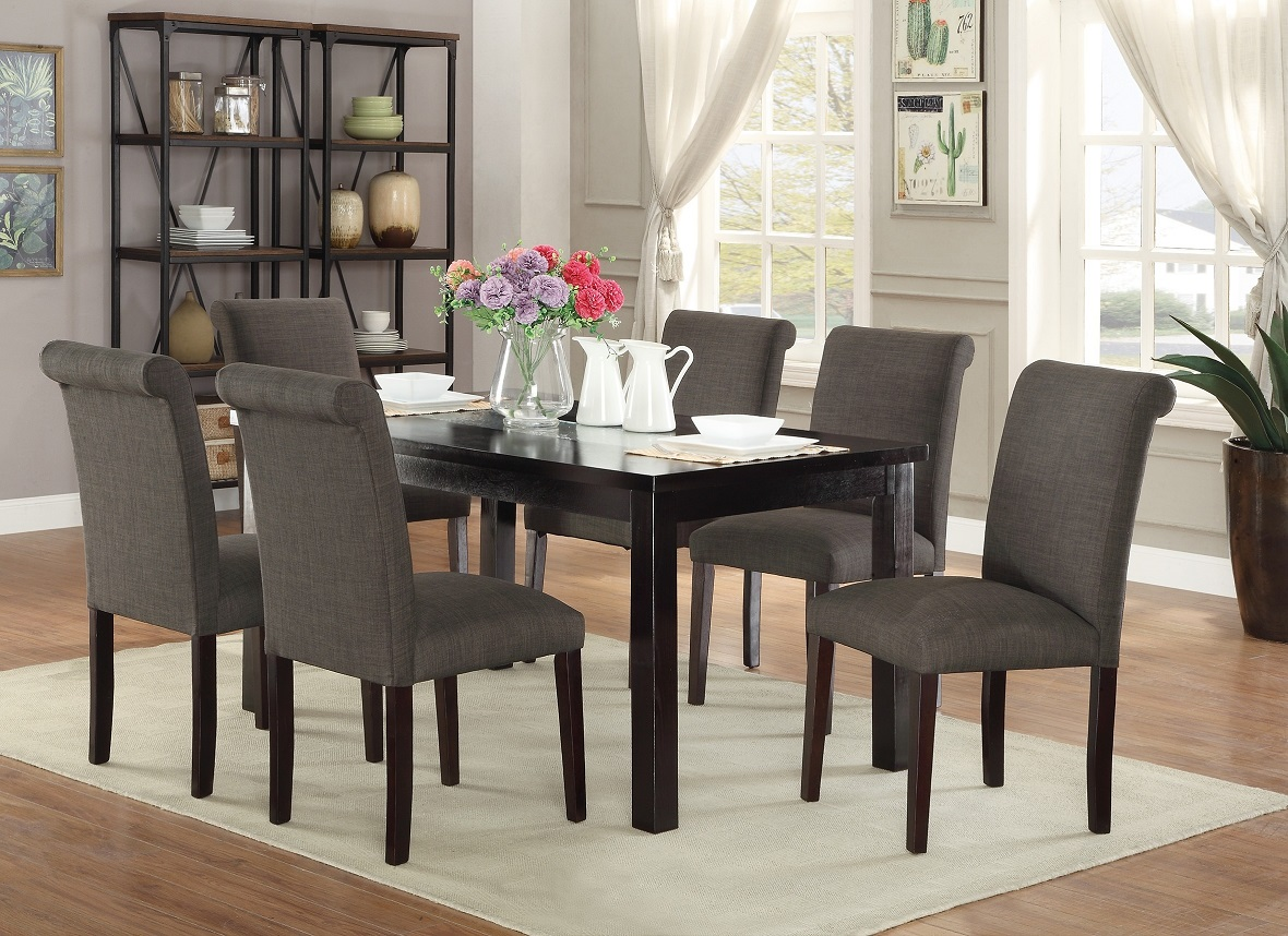Modern Plush Ash Black Polyfiber Side Chairs Dining Table
