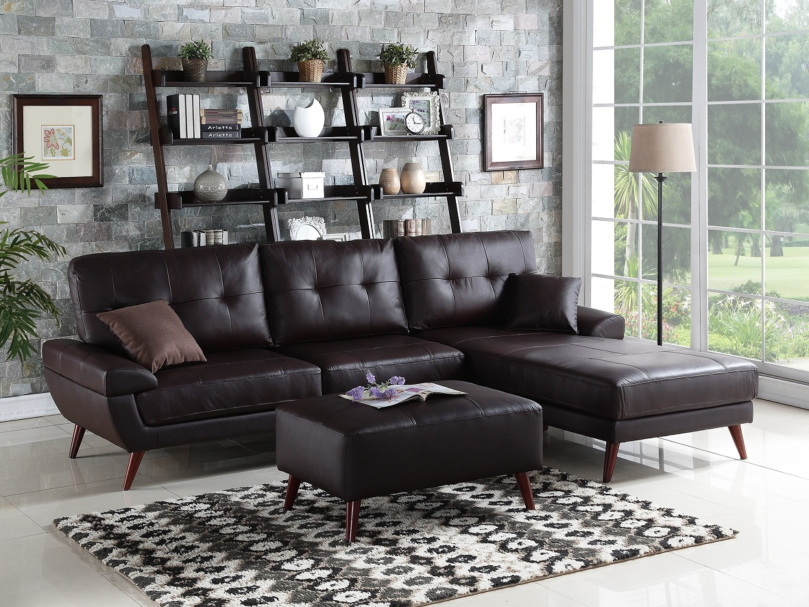 Genuine leather match brown 2pc sectional sofa living room for Brown sectional sofa with chaise