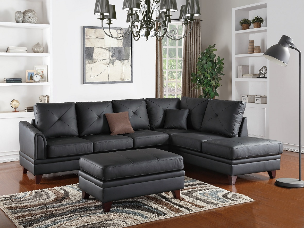 Top grain leather reversible sectional sectionals 2pc set for Black sectional with chaise