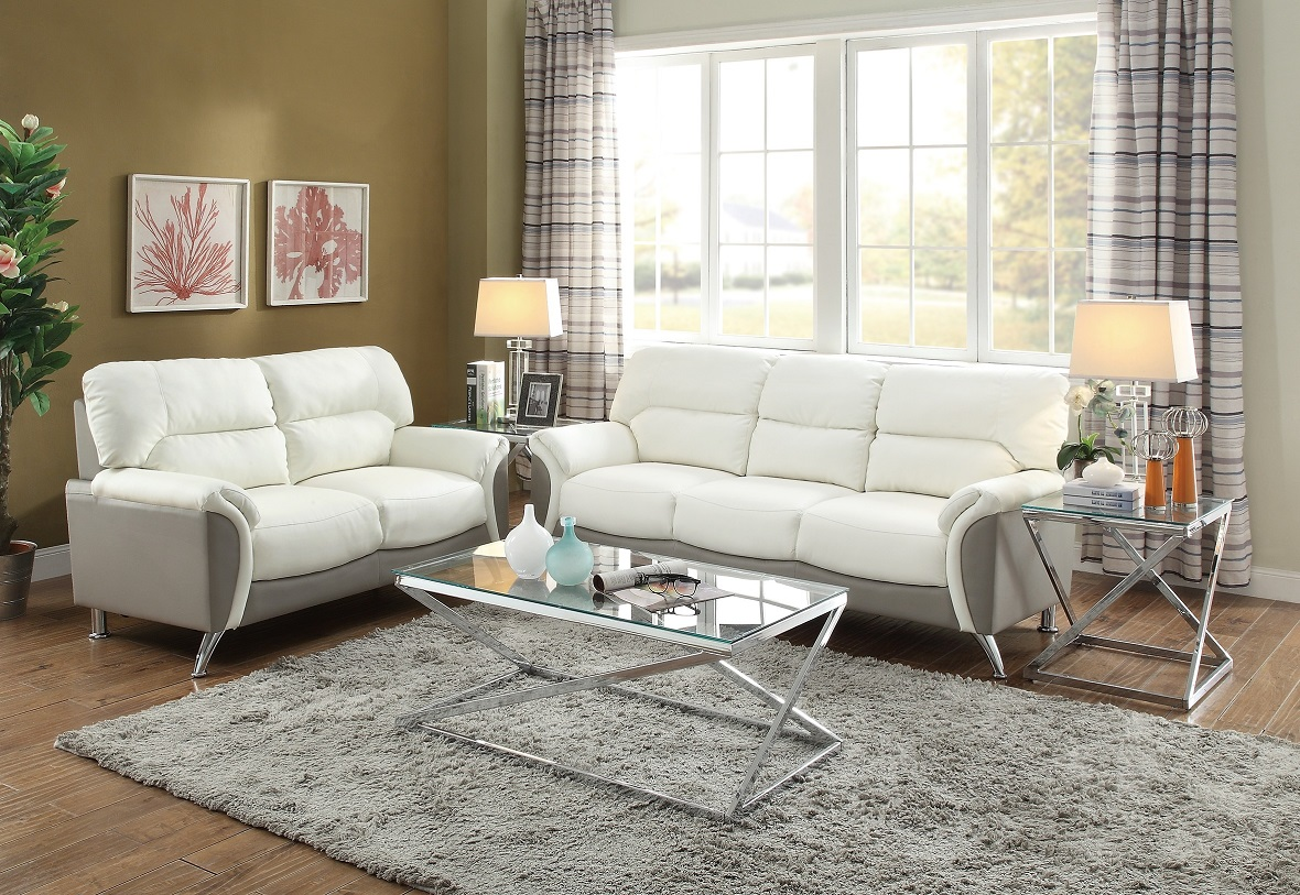 sofa couch loveseat set love seat living room white grey leather
