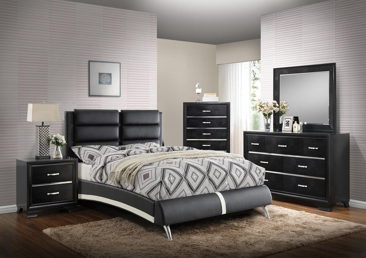 Bedroom Furnture 4pc Set Modern Full Size Bed Dresser Mirror Nightstand Black