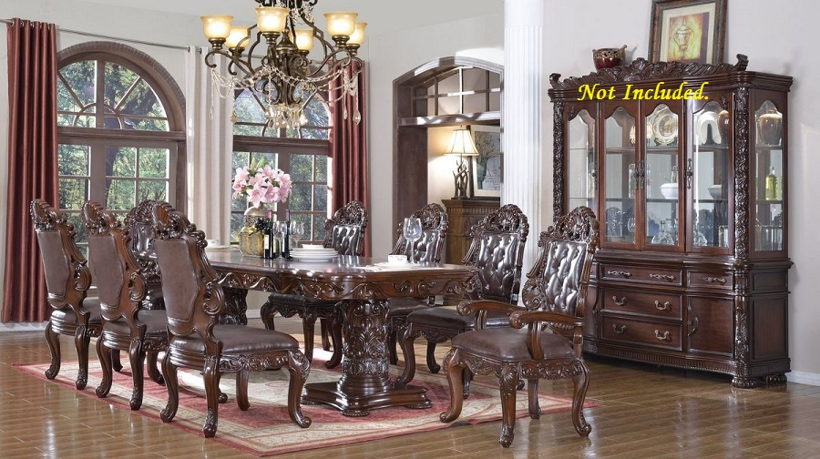 Traditional dining room set 7pc hand crafted cherry formal for Cherry formal dining room sets
