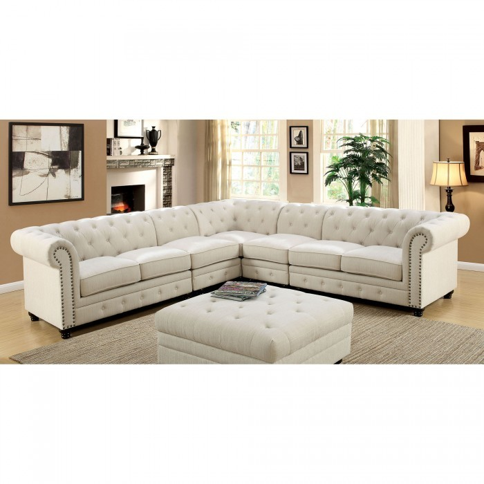 on sale 7739a d3258 Stanford II Sectional Set Ivory Linen Like Fabric Tufted Sofa 2 Armless  Chair Plush Cushion Rolled Arms Nailhead Living Room