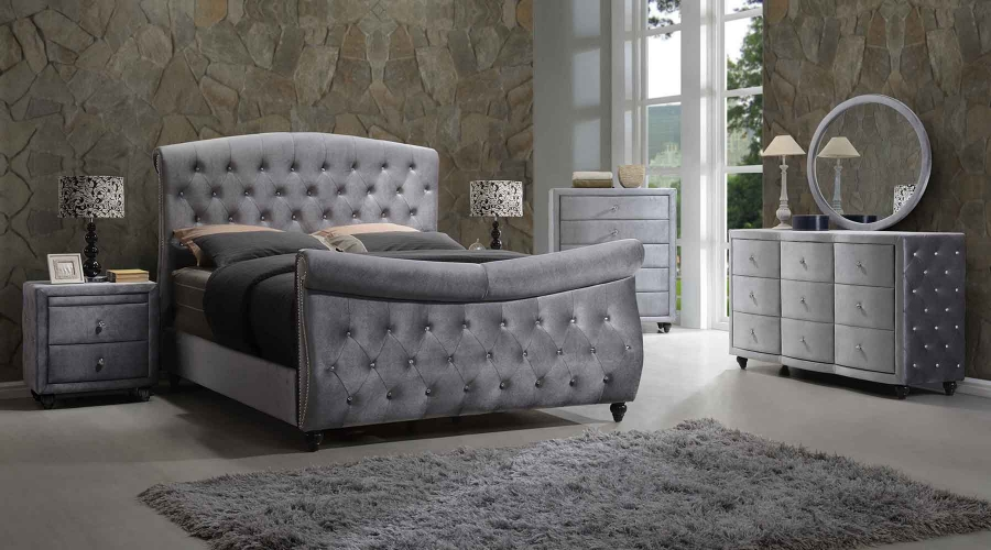 4pc set contemporary bedroom furniture queen size grey velvet sleigh board bed ebay