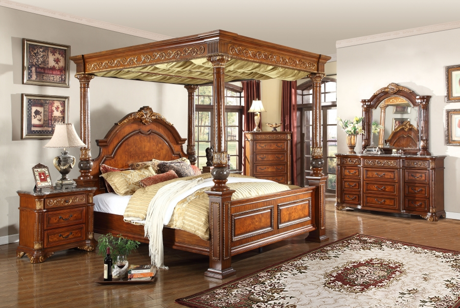 1pc traditional style bedroom furniture cherry finish king size royal canopy bed ebay. Black Bedroom Furniture Sets. Home Design Ideas