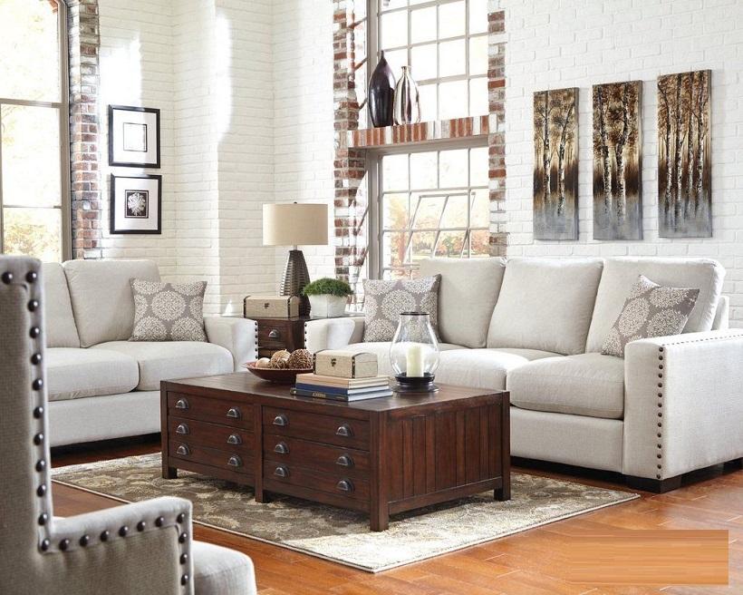 Rosanna Plush Cream Linen 3 Piece Living Room Furniture Set Sofa Loveseat Cha